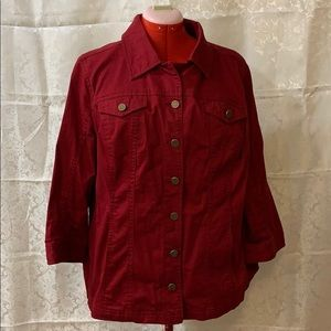 Cranberry red cotton Jean jacket with 3/4 sleeves